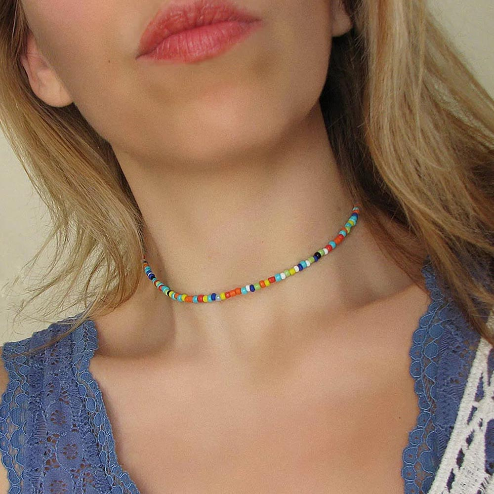 Colorful rice beaded necklace jewelry womens fashion european-style neck ornaments birthday gifts