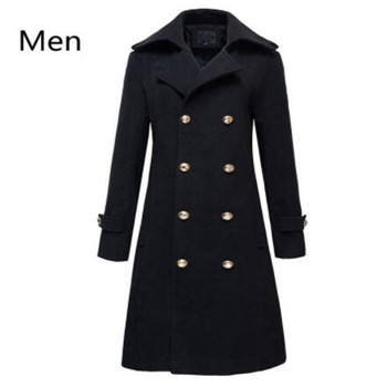 Winter Mens Military Double Breasted Wool Blend Long Jackets For Man Female Cotton Padded Warm Long Coats Male Windbrea
