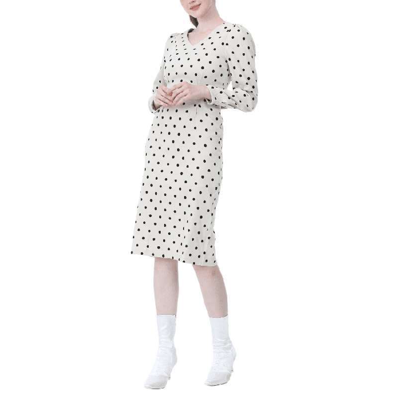 French style Spring autumn Women Casual Polka Dot Print A Line Party Corduroy Dresses Eleagnt lace up Slim Dress Fashion|Dresses| - AliExpress