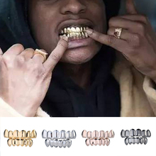 Teeth Caps Gold Silver Plated Hiphop Teeth Grillz Top Bootom Groll Cosplay Set silicone Vampire teeth Gift Christmas Teeth Cover