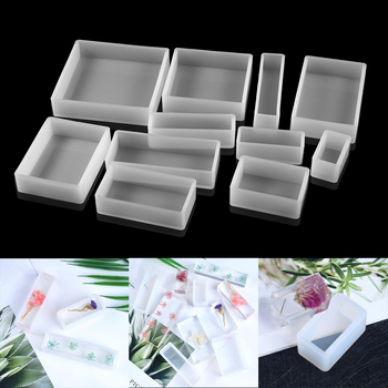 1Pcs Square Rectangle Silicone Mold Dried Flowers Plant UV Epoxy Resin Mould For DIY Coaster Pendant Jewelry Making Accessories