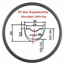 27,5 er Асимметричный бескамерный 30 мм x 24 мм углеродный обод ультралегкий 300 г 650B Горный или Кроссовый Велосипед Кросс Кантри велосипед обод 24 28 32 отверстия UD матовый