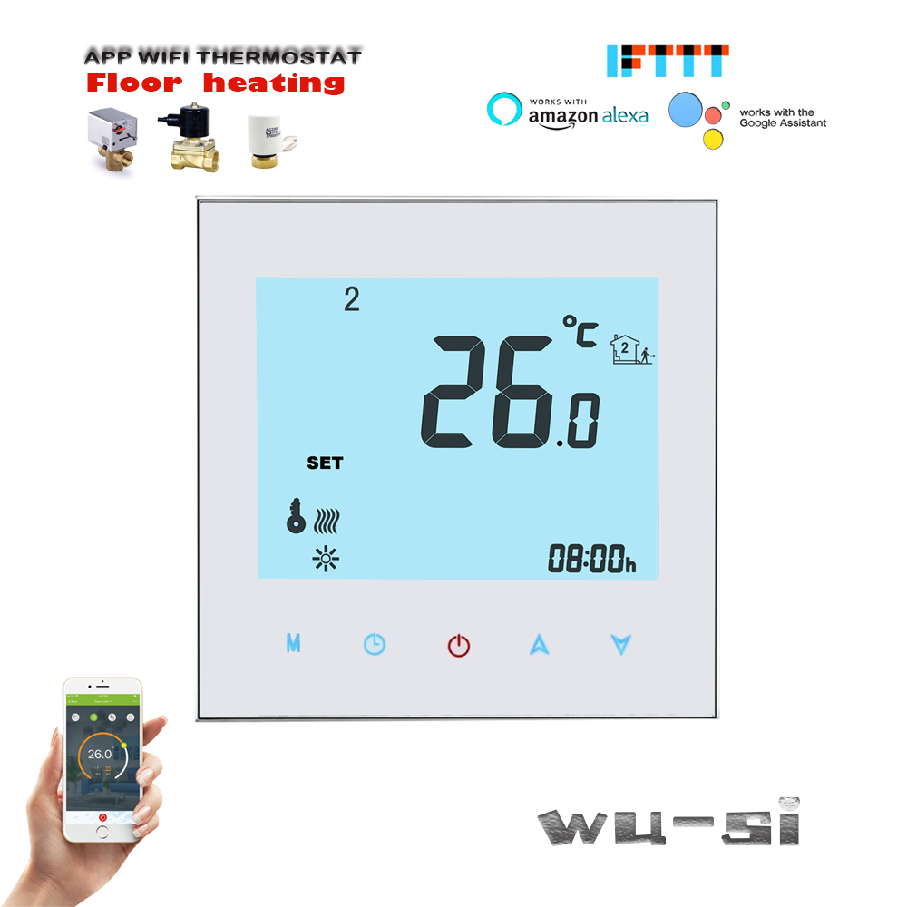 TUYA Wifi Thermostat For Water Heating Systems,Connectable Alexa Google Home Intelligent,24VAC, 95-240VAC OPTION