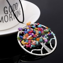 SA SILVERAGE Colorful Natural Stone Trendy European American Pendant Jewelry Gravel Handmade Tree of Life Necklace 2019