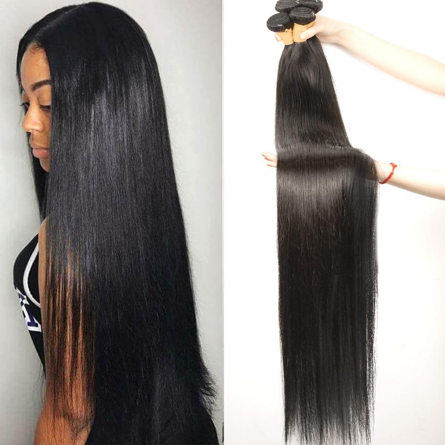 Hair-Bundles Human-Hair Straight Brazilian 36-38-40inch Double-Wefts Hoho 32-34 Thick