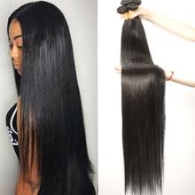 32 34 36 38 40 inç brezilyalı düz saç demetleri 100% doğal insan saçı hoho saç 1 3 4 demetleri çift atkı kalın Remy saç