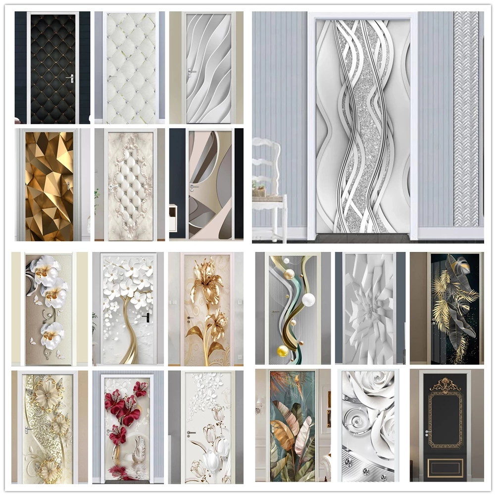3D Self Adhesive Wall Art Decal Abstract New Sticker For Home Door Decoration Silver Pearl Renovation Wallpaper Print Picture