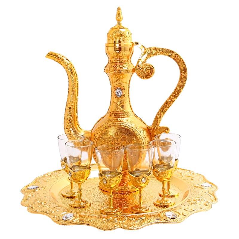 Luxuriöse 304 edelstahl liner Wein set wein glas sets für hochzeit dekorative flachmann + lagerung tablett + wein glas JJ078 - 3