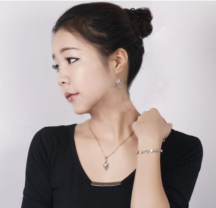 Hot Angle Wing Flying Nice 925 Sterling Silver Jewellery Pendant Necklace Korea Stylish Earring Jewelry Sets+18″ Chain