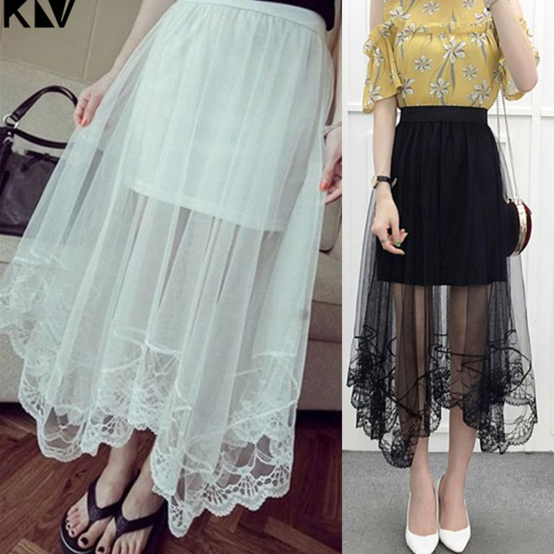 KLV High Waist Scalloped Lace Trim Midi Long Skirt Lined Solid Color Irregular Hem Pleated Double Layer Sheer Mesh Party Skirt