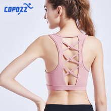 Seamless Sports Bra Top Fitness Women backless Running Crop Tops Gym Workout Push Up Padded Yoga Bra High Impact Criss Cross high impact anti shock backless design elactic sports bra in rose