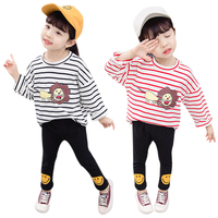 Baby Clothes Set Baby Girl Boy Long Sleeve Autumn Striped Animal Print Blouse Tops+Pants Trouser Casual Costume Set