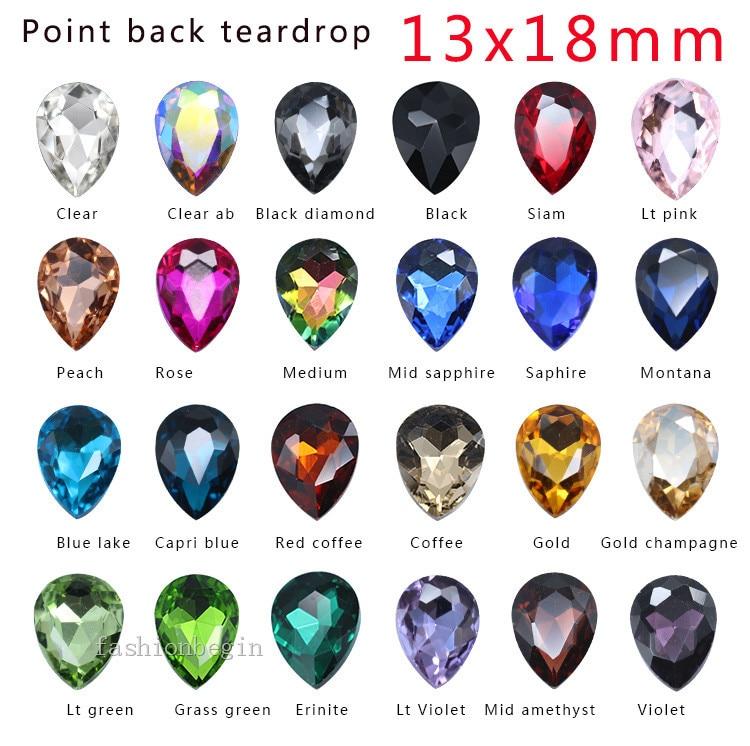 Цветные каплевидные камни 12p 13х18 мм с заостренным фольгированным дном на заднем стекле, модные ограненные кристаллы, стразы, детская игрушк...