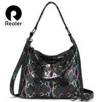 REALER sacchetti di spalla per le donne 2019 del cuoio genuino borsa di lusso del progettista di grandi dimensioni Borse Hobos con la nappa animale stampe delle donne del sacchetto