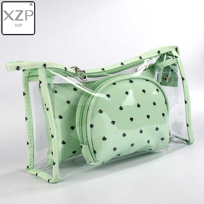 XZP 3 teile/satz Neue Candy Crown Kosmetik Tasche Frauen Necessaire Make-Up Tasche Reise Wasserdichte Tragbare Make-Up Bag Kultur Kits PVC