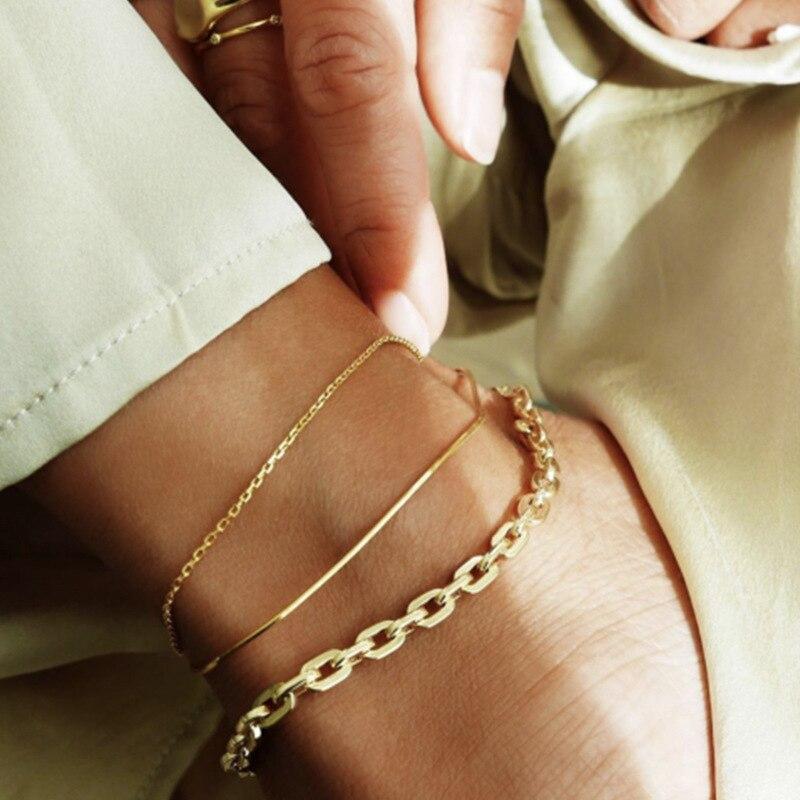 3 pcs Set Snake Chain Link Chain Anklet INS Hot Minimalist Creative Popular Metal Layered Anklet Bracelet for women girls