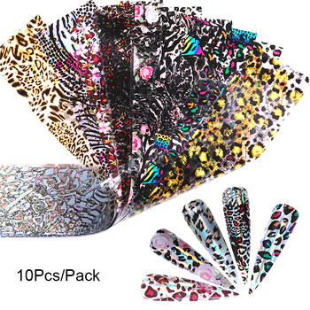 10 Pcs Rose Flowers Nail Foils Tropical Leaves Colorful Nail Decals Transfer Decorations Sets for Manicuring DIY Sticker Slide 27