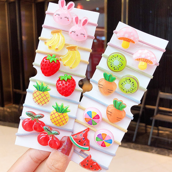 10PCS/Set New Girls Cute Cartoon Fruits Elastic Hair Bands Kids Ponytail Holder Scrunchie Rubber Band Fashion Hair Accessories