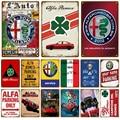 Alfa Romeo автомобиль доска Металл Винтаж жестяная вывеска потертый Шикарный декор винтажные металлические знаки Винтаж бар украшение из метал...