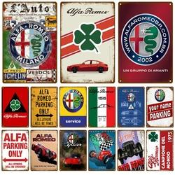 Alfa Romeo Car Plaque Metal Vintage Tin Sign Shabby Chic Decor Metal Signs Vintage Bar Decoration Metal Poster Pub Metal Plate