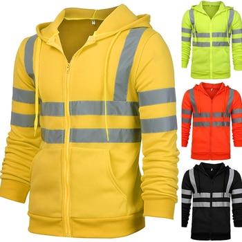 VICABO Men Stripe Patchwork Hooded  Jacket Ski Hoodies Reflective Visibility Workwear Coat Color Block 1