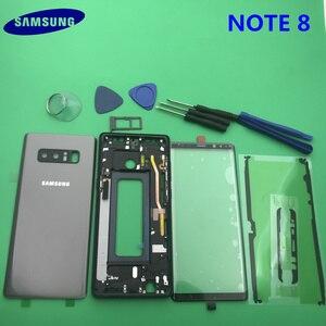 Image 3 - Note8 tam konut Case arka kapak + ön ekran cam Lens + orta çerçeve Samsung Galaxy not 8 için N950 N950F komple parçaları