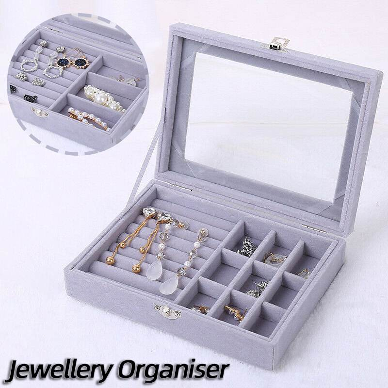 Multi-function Jewellery Box Ornaments Organiser Storage Tray Case Holder Jewelry Store Display Box Rings Necklace Container