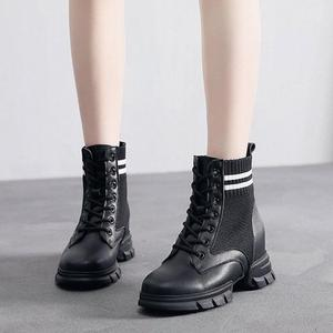 Image 3 - SWYIVY Martin Boots Women Knitting Sock Shoes Sneakers Platform New 2019 Female Casausl Shoes White/black Ankle Boots For Women