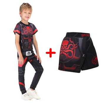 Zestaw sportowy dla dzieci koszulki kompresyjne + spodnie dla dzieci Rashguard MMA trening bokserski obcisłe koszulki spodnie nastolatki odzież BJJ tanie i dobre opinie Pasuje prawda na wymiar weź swój normalny rozmiar Chłopcy Anty-pilling O-neck Krótki Drukuj Kids Clothing Poliester