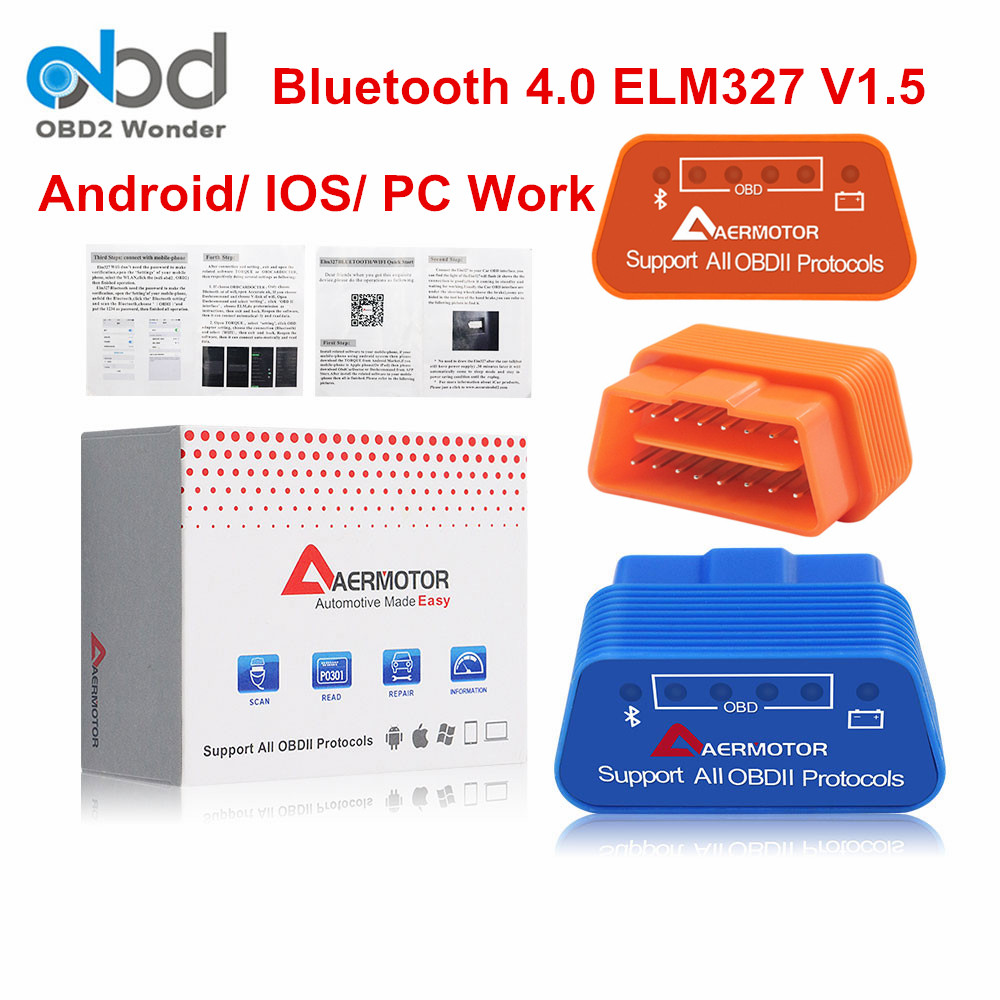 Aermotor ELM327 <font><b>Bluetooth</b></font> 4.0 OBD2 V1.5 Auto Diagnostic Scanner <font><b>ELM</b></font> <font><b>327</b></font> <font><b>Bluetooth</b></font> 4 OBDII FW 1.5 IOS Android Windows Availiable image