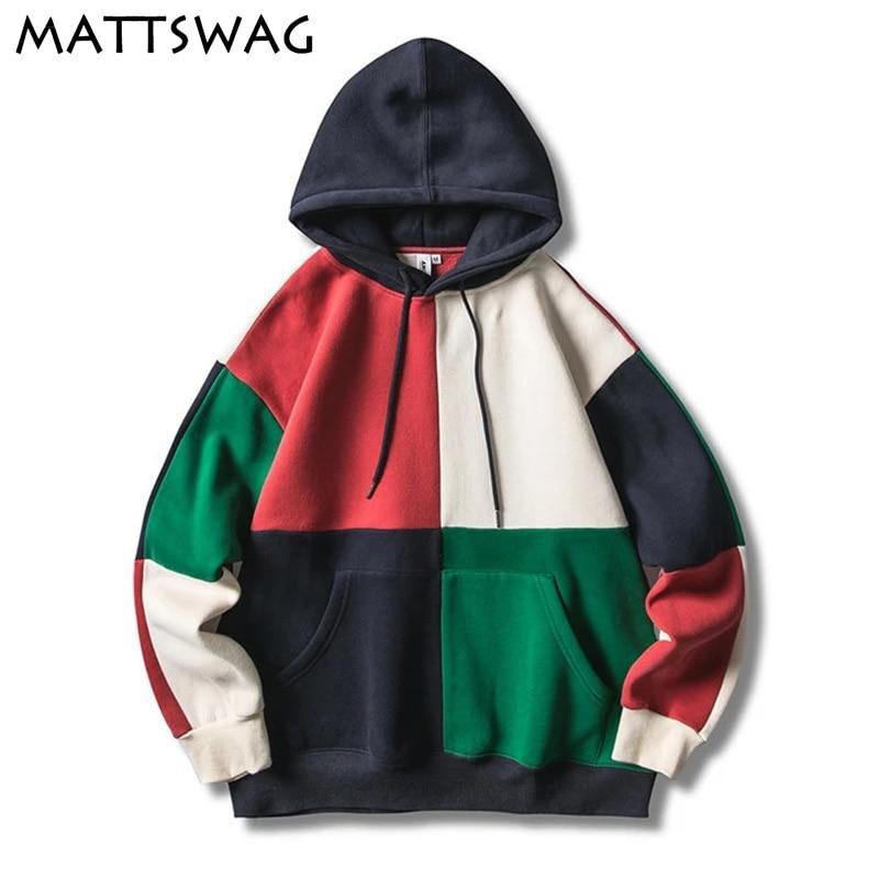 MATTSWAG Hit Color Patchwork Mens Pullover Hoodies 2020 New Hipster Japanese Men Hoodie Sweatshirt Casual Streetwear Couple Coat