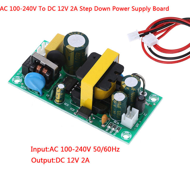 AC DC 100-240V To 12V 2A Converter Isolated Step Down Power Supply Board With Wires