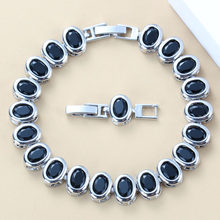 Sterling Silver Simple Black Zircon Bracelet Health Fashion Jewelry For Women Free Jewelry Box SL93(China)