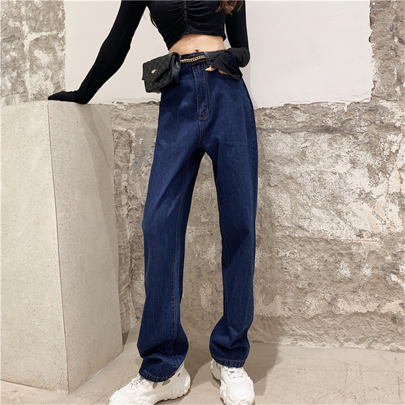 JUJULAND Loose Vintage Woman Jeans Autumn Casual Boyfriend Curl Denim Wide Leg Straight Pants Oversize High Waist Jean 9675