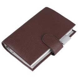 Cuaderno de cuero genuino organizador carpeta de anillos planificador cubierta Personal tamaño A6 diario Agenda de Sketchbook con Bolsillo grande