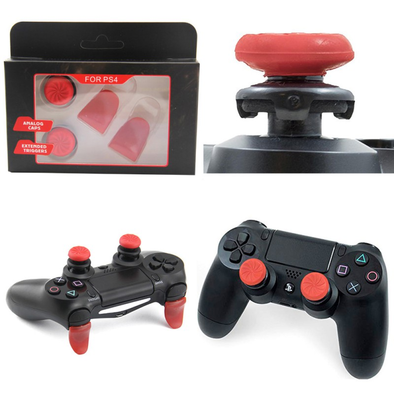 Game Trigger Extended Button Analog Extender Grip Enhanced Cap For PS4 Controller title=