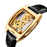 SHENHUA men watch Automatic mechanical watch man Steampunk skeleton auto winding leather montre homme gold watch