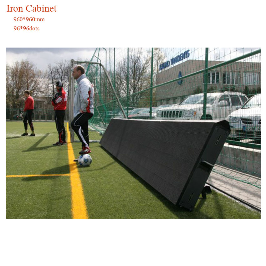 P10 DIP346 960*960mm Iron Cabinet Rental Outdoor Full Color LED Display Football Basketball Court Screen, Gym Led Screen Panel