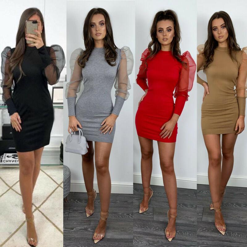 2020 HOT Women's Dress Sexy Casual Solid Long Sleeve Puff Sleeve O-neck Slim Dress Party Club Wear Fashion New Mini Dresses
