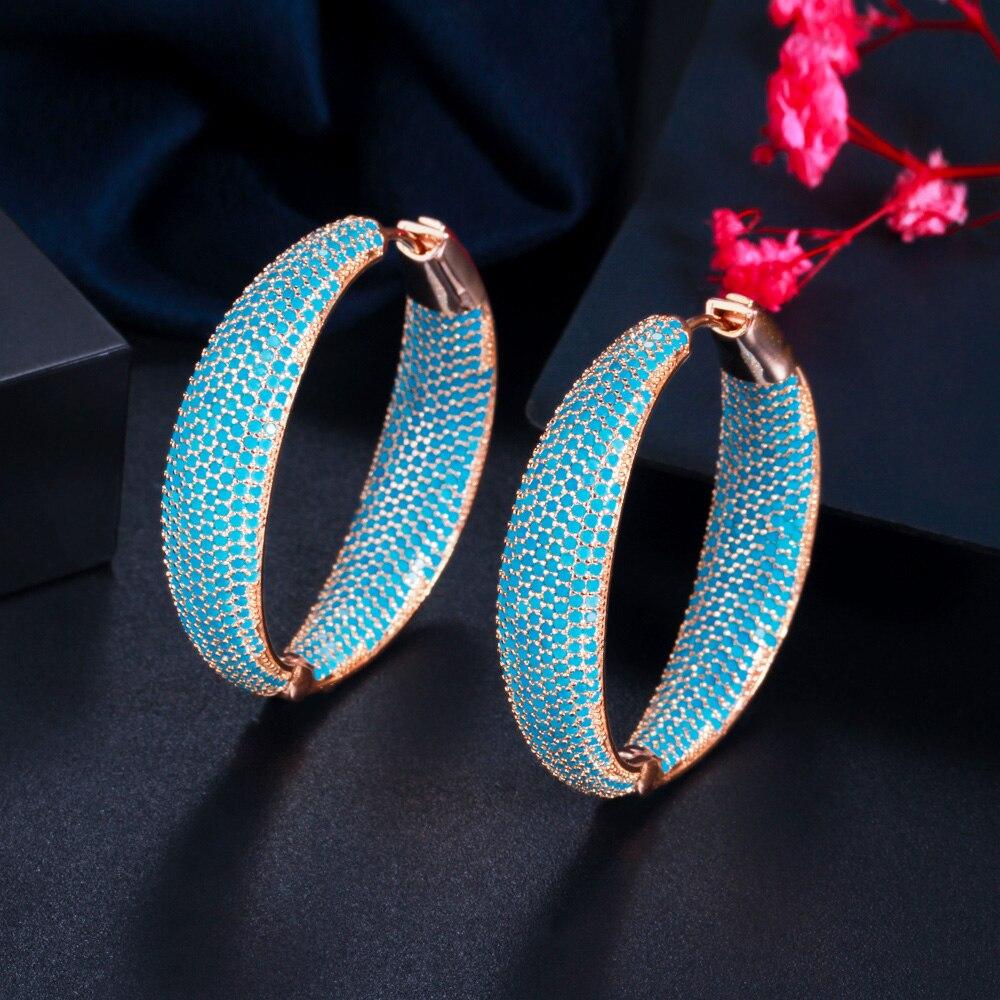 CWWZircons Luxury Turkish Light Blue Cubic Zirconia Large Loop Hoop Earring for Women Fashion Statement Jewelry Brincos CZ883