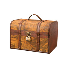 Classical Wooden Box Retro Creative Storage Antique Treasure Chest Ornaments  Home Decoration