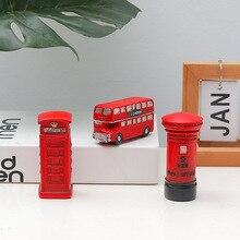1PC Vintage rojo Bus Postbox cabina telefónica Londres figuras miniatura escritorio adornos decoración del hogar Accesorios sala de estar regalo