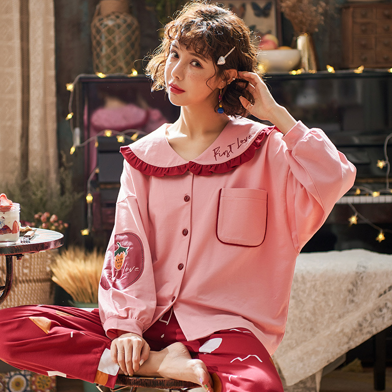 New Home Wear Long Sleeve Cotton Autumn Winter Sleepwear Casual Sleep Set 2PCS Nightwear Cute Babydoll Pajamas Pyjamas Suit