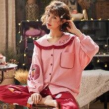 New Home Wear Long Sleeve Cotton Autumn Winter Sleepwear Casual Sleep Set 2PCS Nightwear Cute Babydoll Pajamas Pyjamas Suit