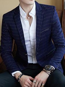 Striped Blazer Slim-Fit Mens Business Casual Stylish Autumn Masculino Dot Spring