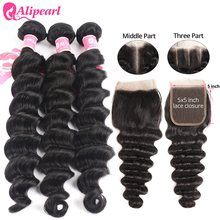 Mèches Loose Deep Wave brésiliennes naturelles Remy avec Closure – AliPearl Hair, 5x5, partie libre, Extension de cheveux, lots de 3