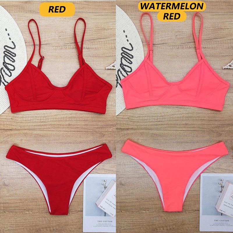 Closeout DealsòSwimsuit Bikini-Set Beach-Wear Solid Thong Push-Up Sexy Brazilian Women
