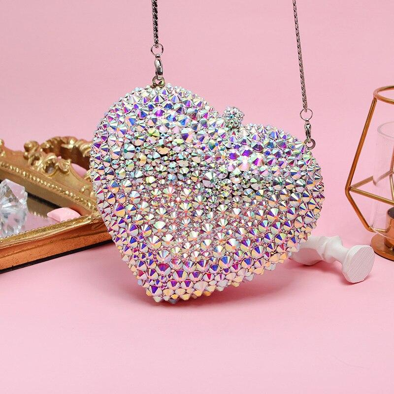 Belle étincelle brillant sac de soirée femmes mignon sac à main en forme de coeur cristal strass Sequin Bling pochette sac à main pour dame fille