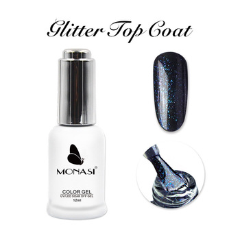 MONASI Base and Top without a sticky layer 2020 Shimmer Glitter Top Coat Rubber Base Thick Gel Varnish