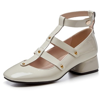 women shoes 2020 new fashion women pumps genuine leather square heels rome style black beige shoes woman dress casual shoes